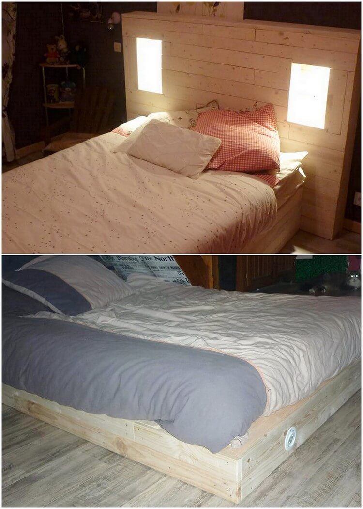 Pallet Bed with Headboard Lights