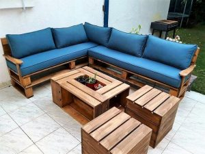 Pallet Couch Set Stools and Table