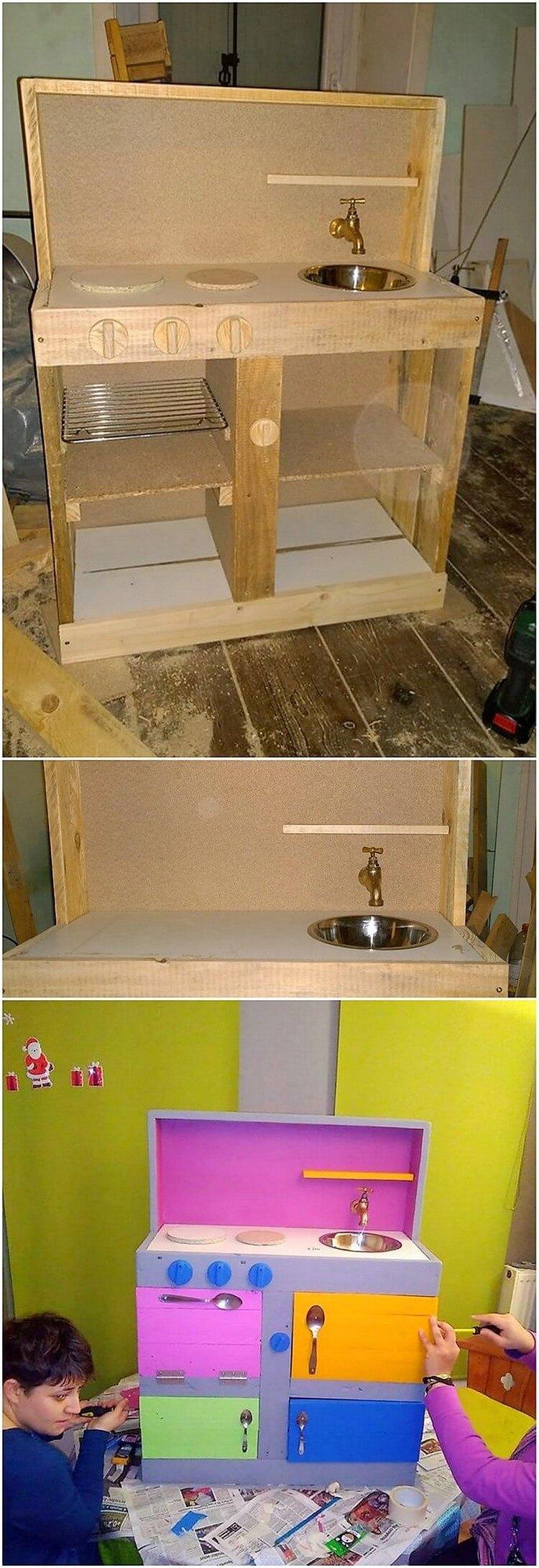 Pallet Kids Mud Kitchen with Sink
