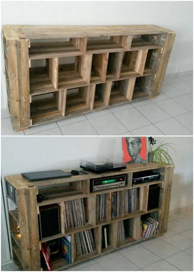 Pallet Media Table with Bookshelf