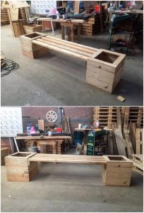 Pallet Seat with Planter Boxes