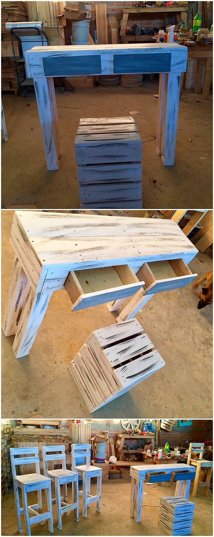 Pallet Study Table with Drawers and Stool