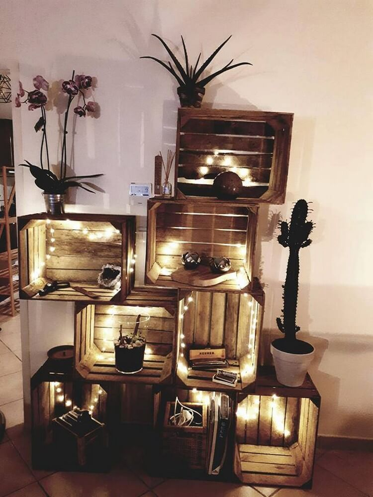 Pallet and Fruit Crates with Lights for Home Decor