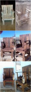 Recycled Pallet Chair with Wine Bottle Holder