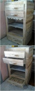 Recycled Pallet Side Table with Drawers