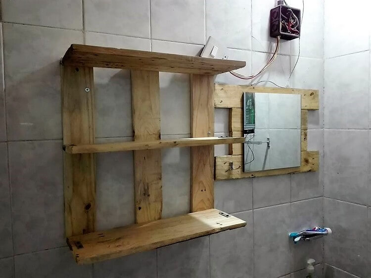 Pallet Bathroom Shelf With Mirror Frame