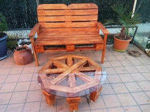 Pallet Bench and Round Glass Top Table