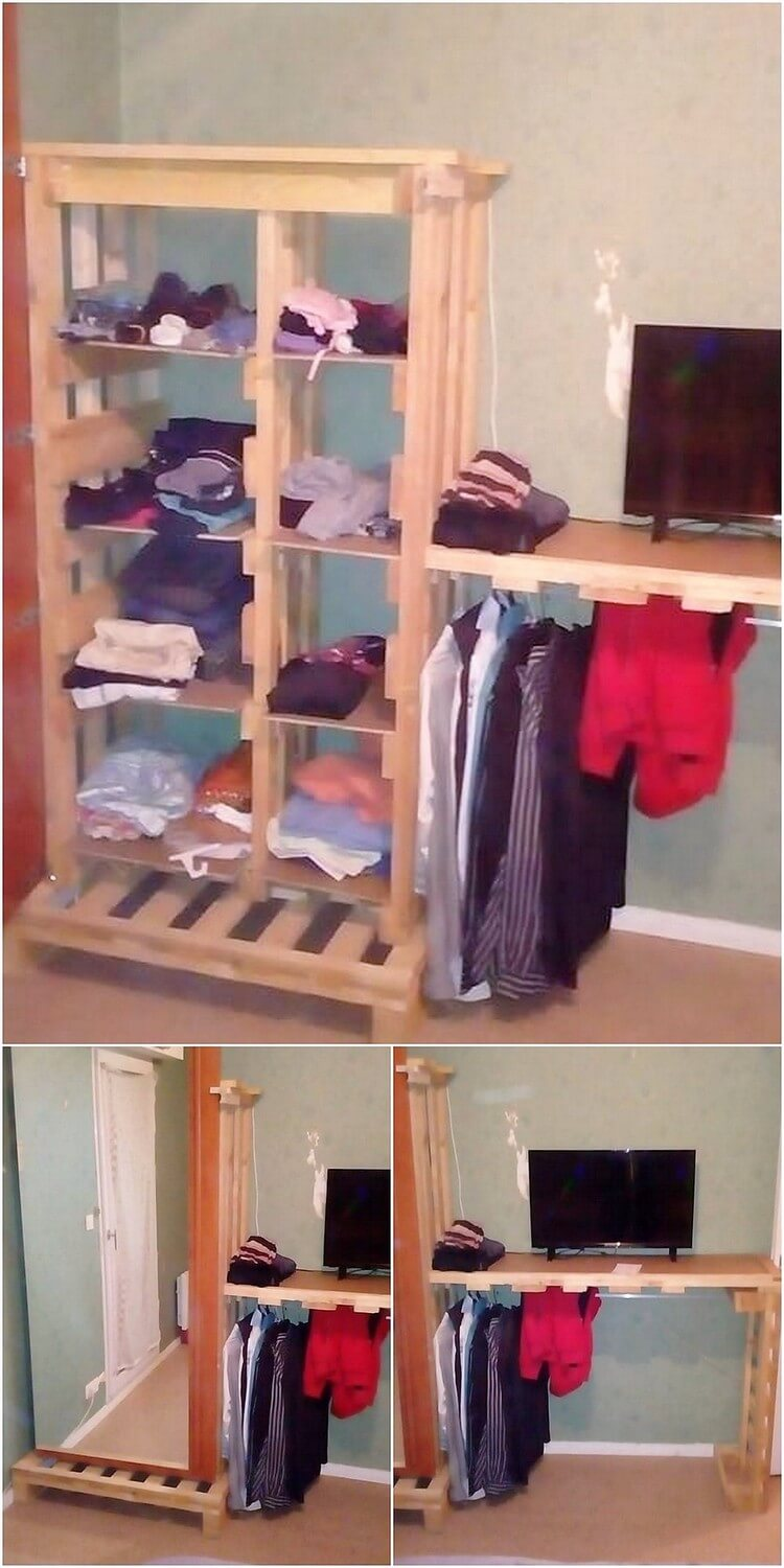 Pallet Closet and Media Table