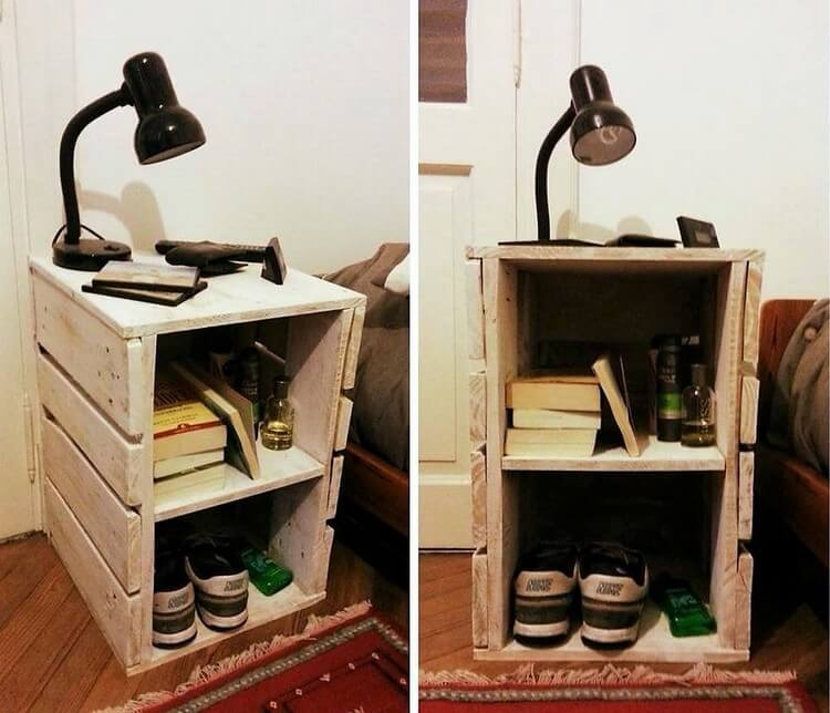 Pallet Side Table with Book Storage and Shoe Rack