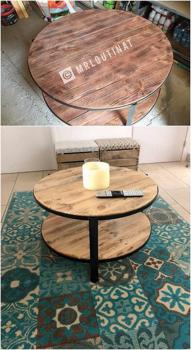 Wood Pallet Round Top Table