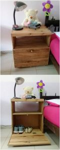 Pallet Side Table with Shoe Storage