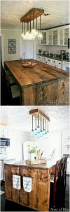 Pallet Kitchen Counter Table and Chandelier