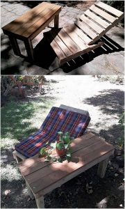 Pallet Sun Lounger and Table
