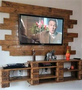 Pallet Wall LED Holder and Wall Shelf