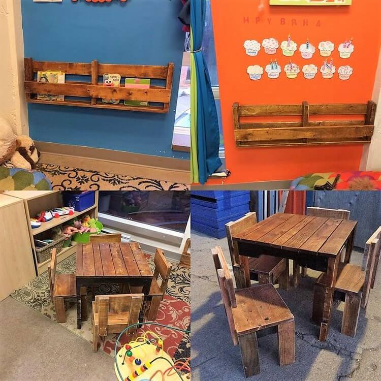 Pallet Wall Shelf and Kids Furniture Set