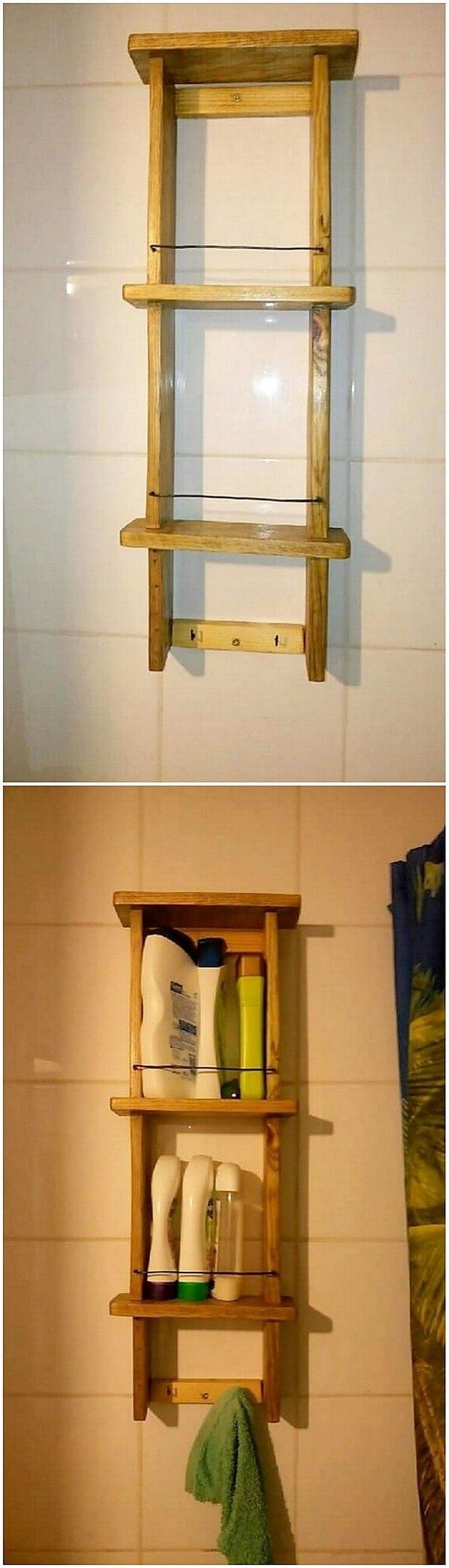Pallet Bathroom Wall Shelf