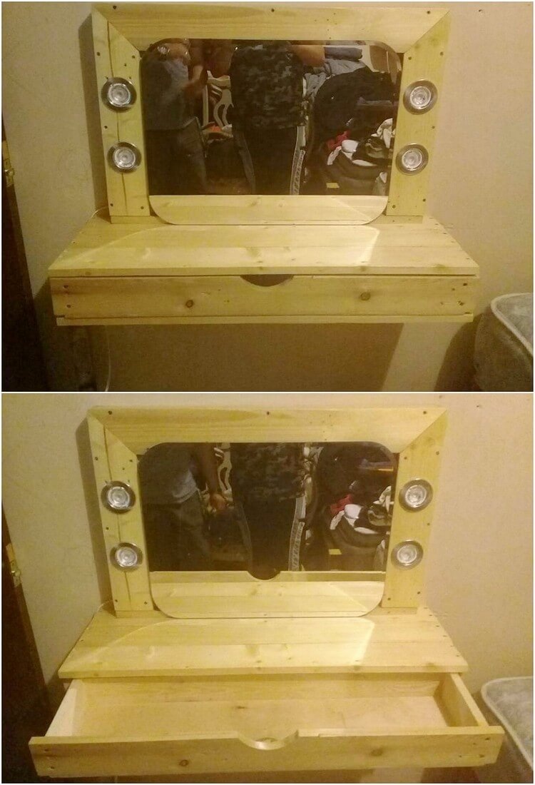 Pallet Mirror Frame with Drawer