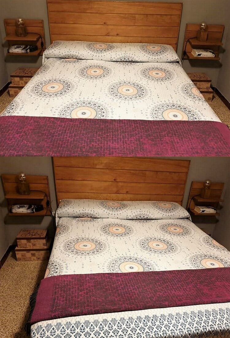 Pallet Bed Headboard and Side Tables