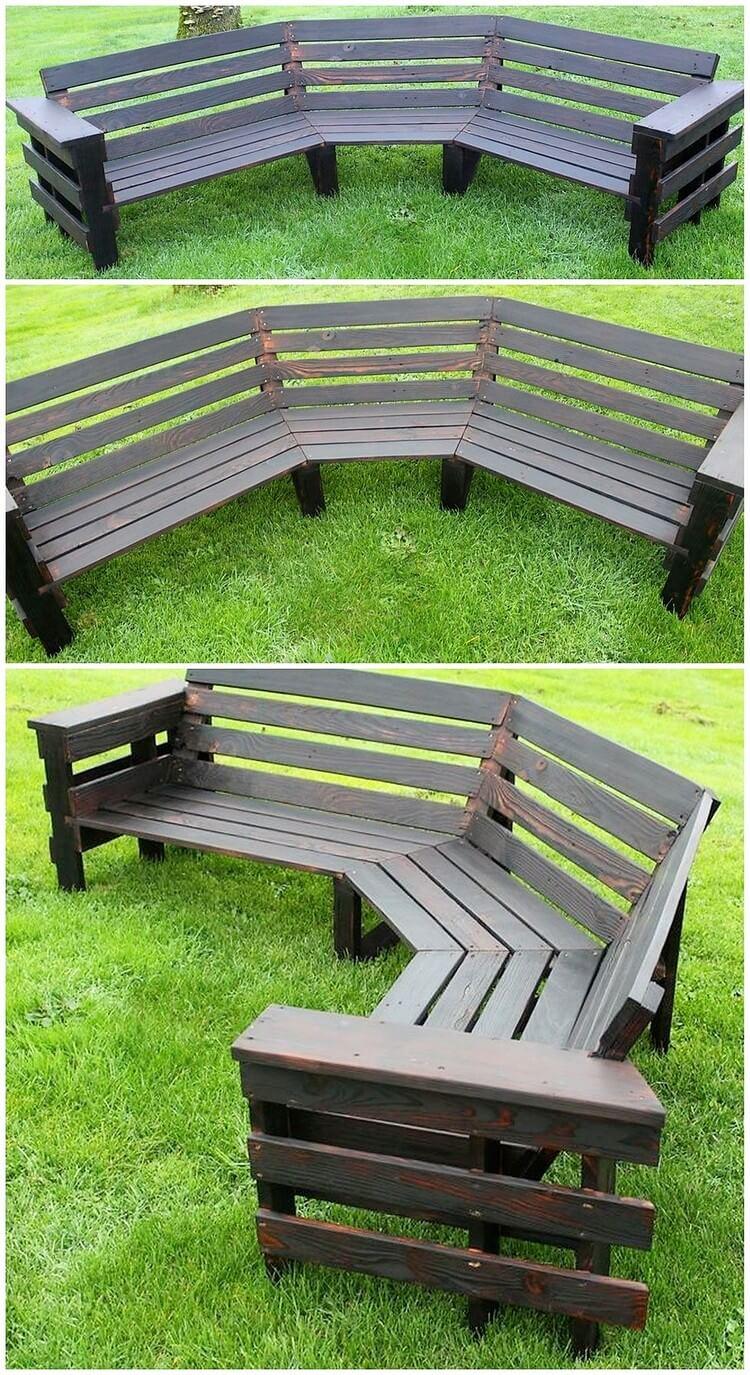 Pallet Garden Round Bench