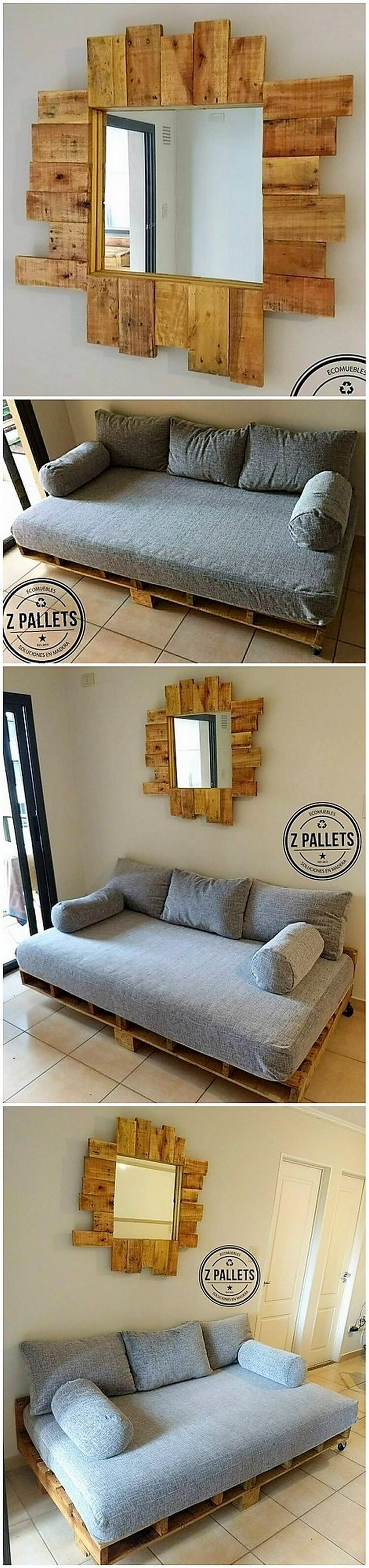 Pallet Mirror Frame and Couch
