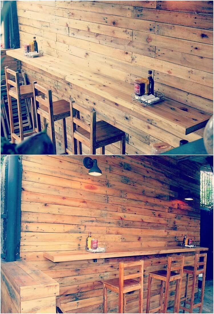 Pallet Wall Paneling with Desk Table