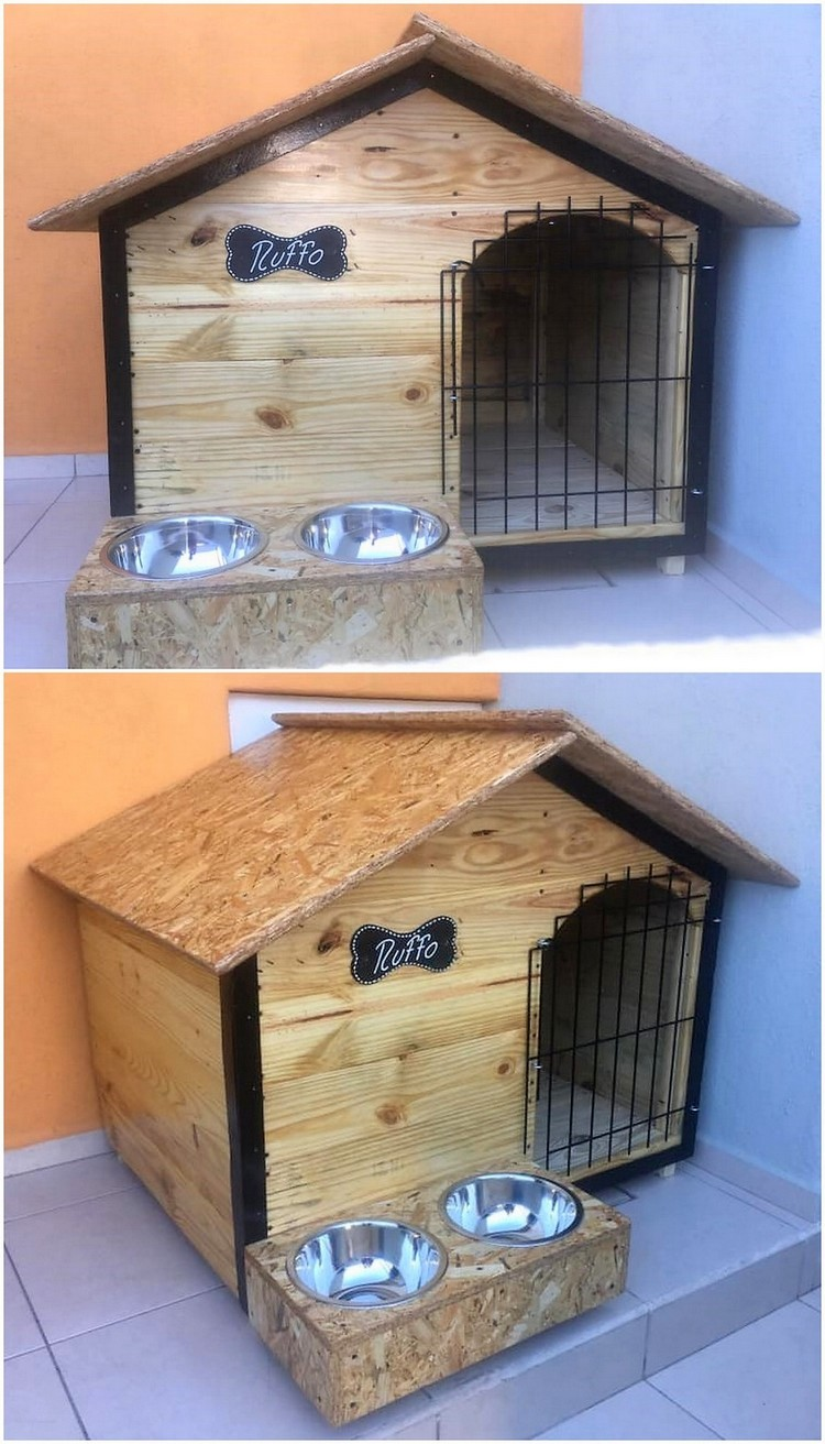 Pallet Pet House with Food Feeder