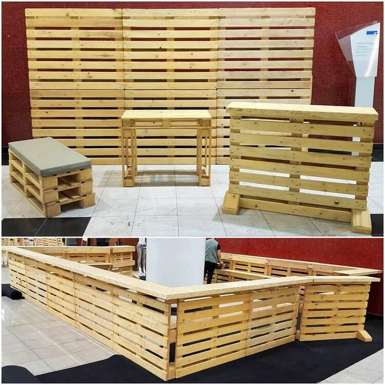 Pallet Room Divider and Counter Table