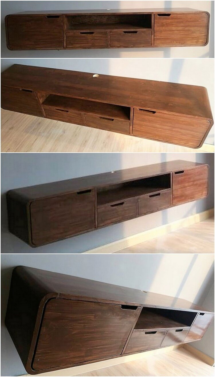 Pallet Media Shelf with Drawers