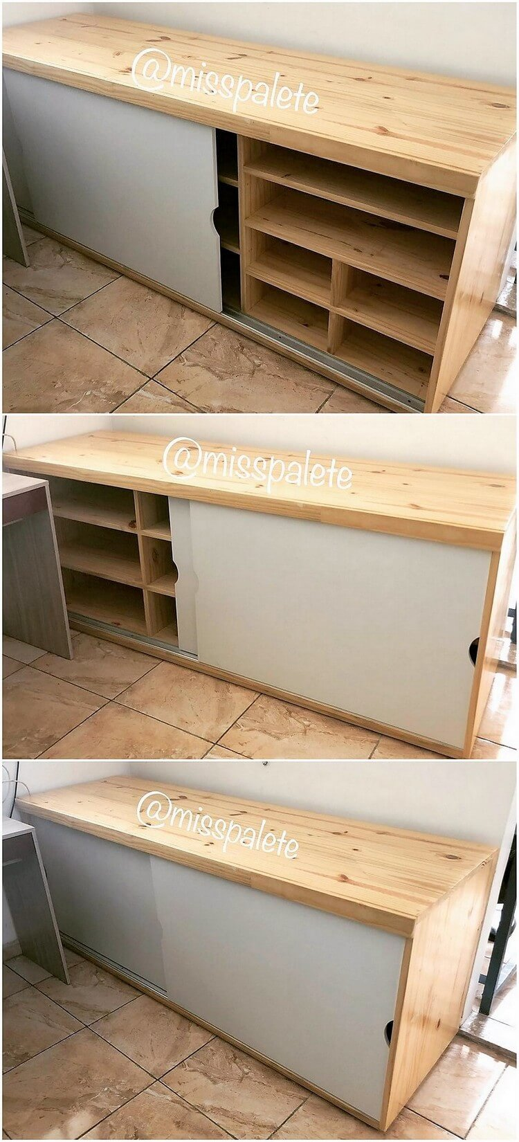 Pallet Shelving Cabinet with Sliding Doors