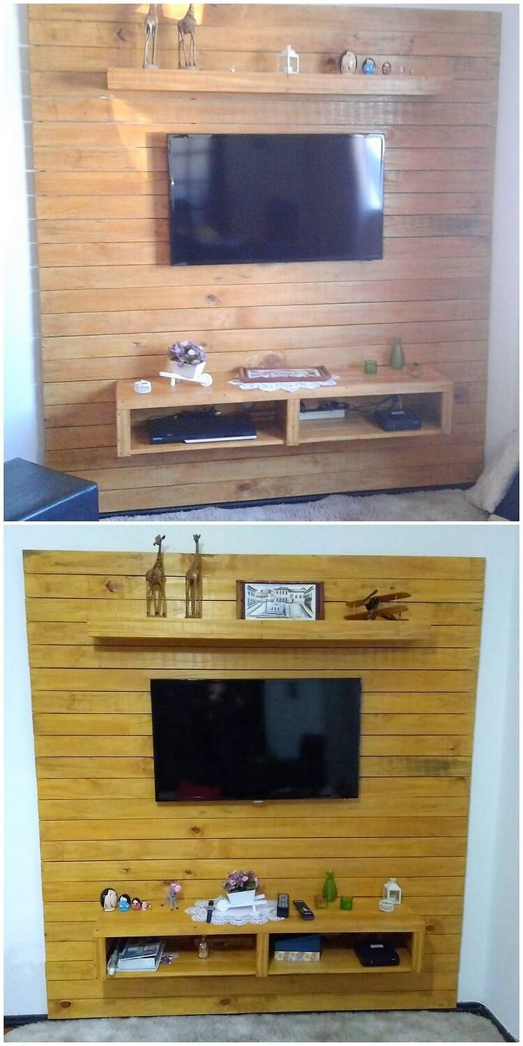 Pallet Wall LED Holder or Media Unit