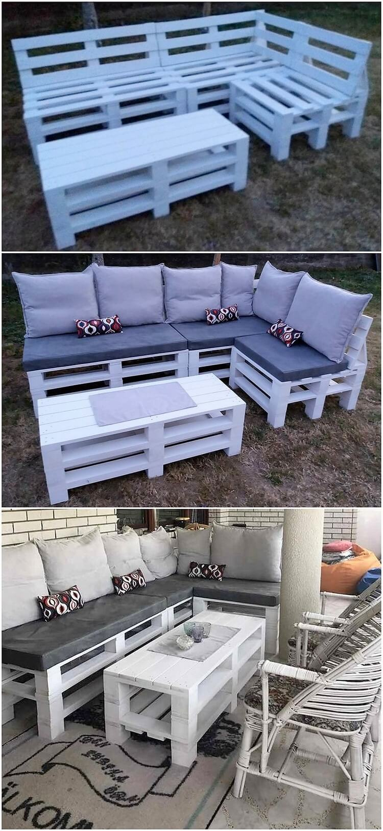 L Shaped Pallet Garden Couch
