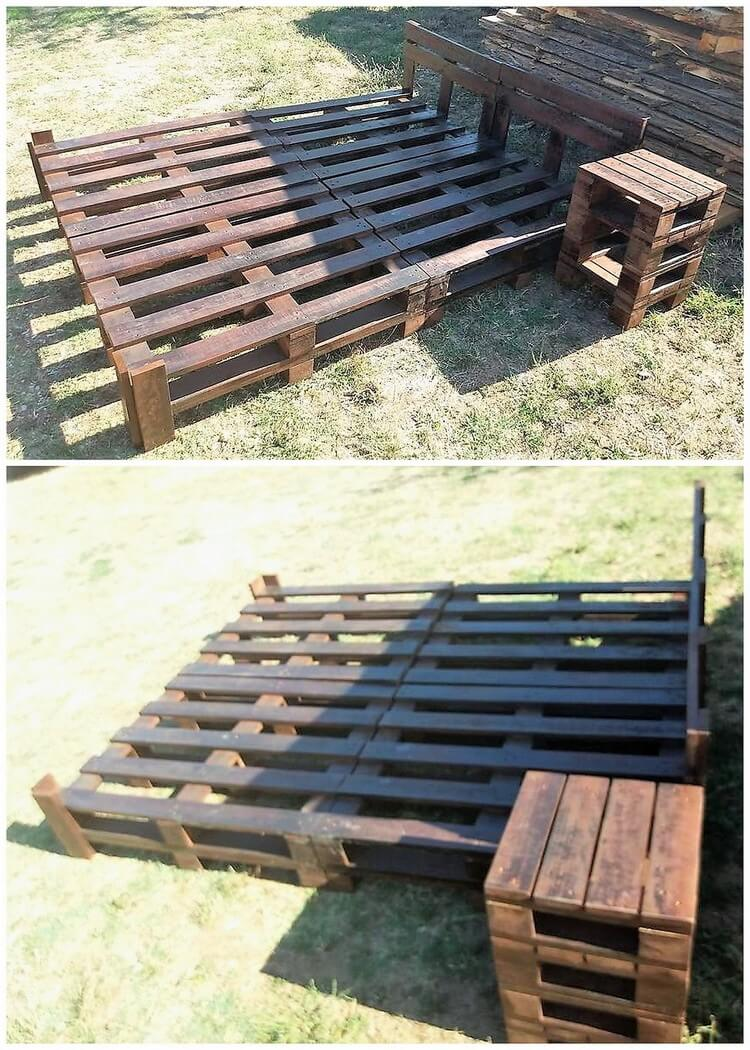 Pallet Bed Frame and Side Table