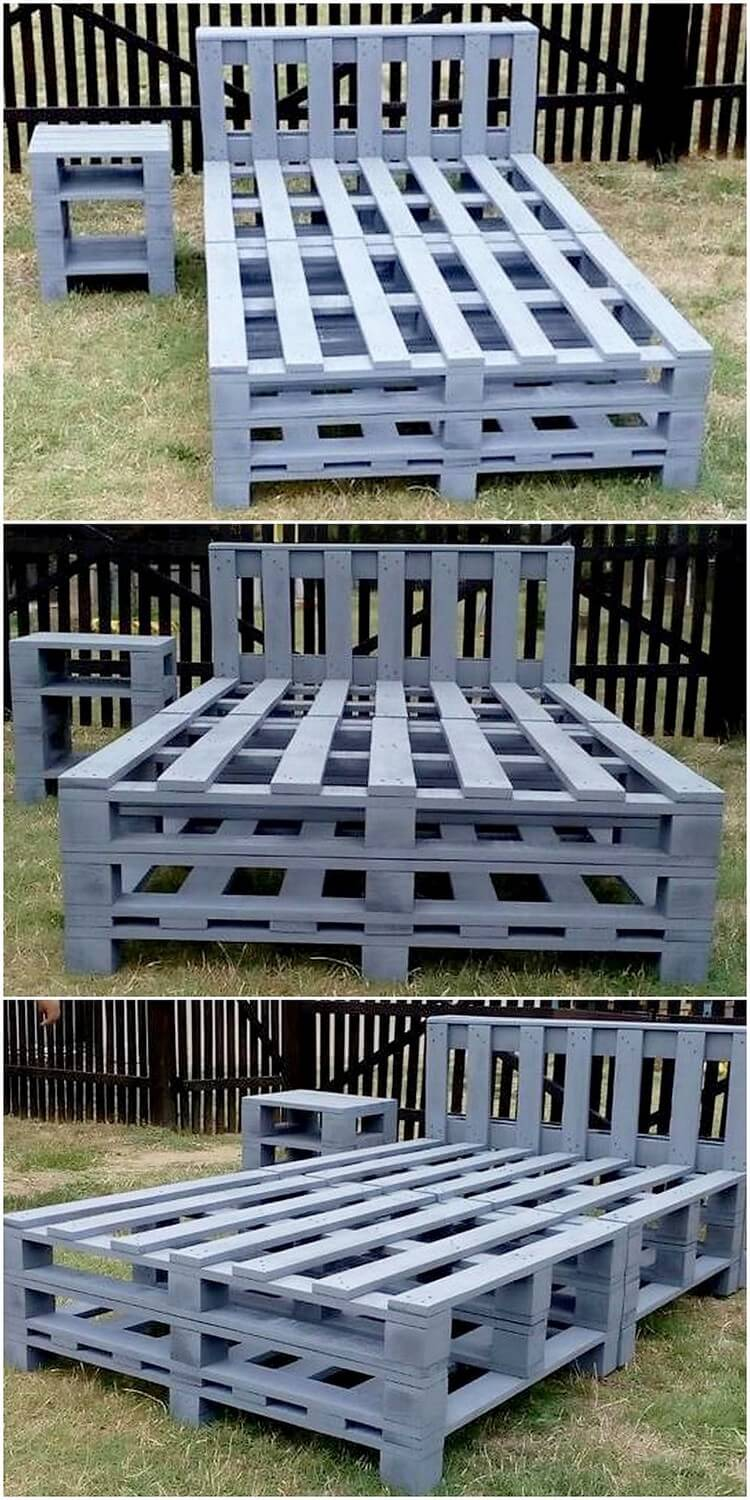 Pallet Bed Frame and Side Tables