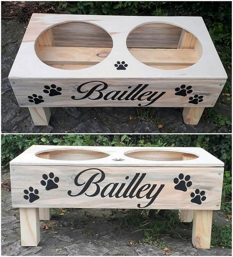 Pallet Dog Food Bowl