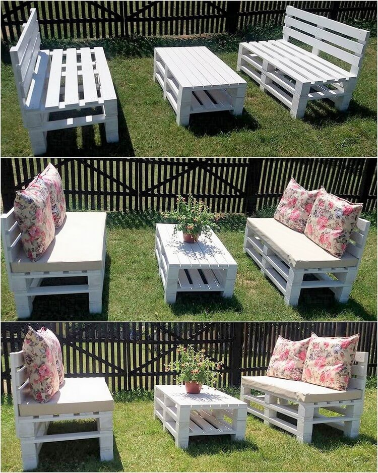 Wooden Pallet Garden Benches and Table