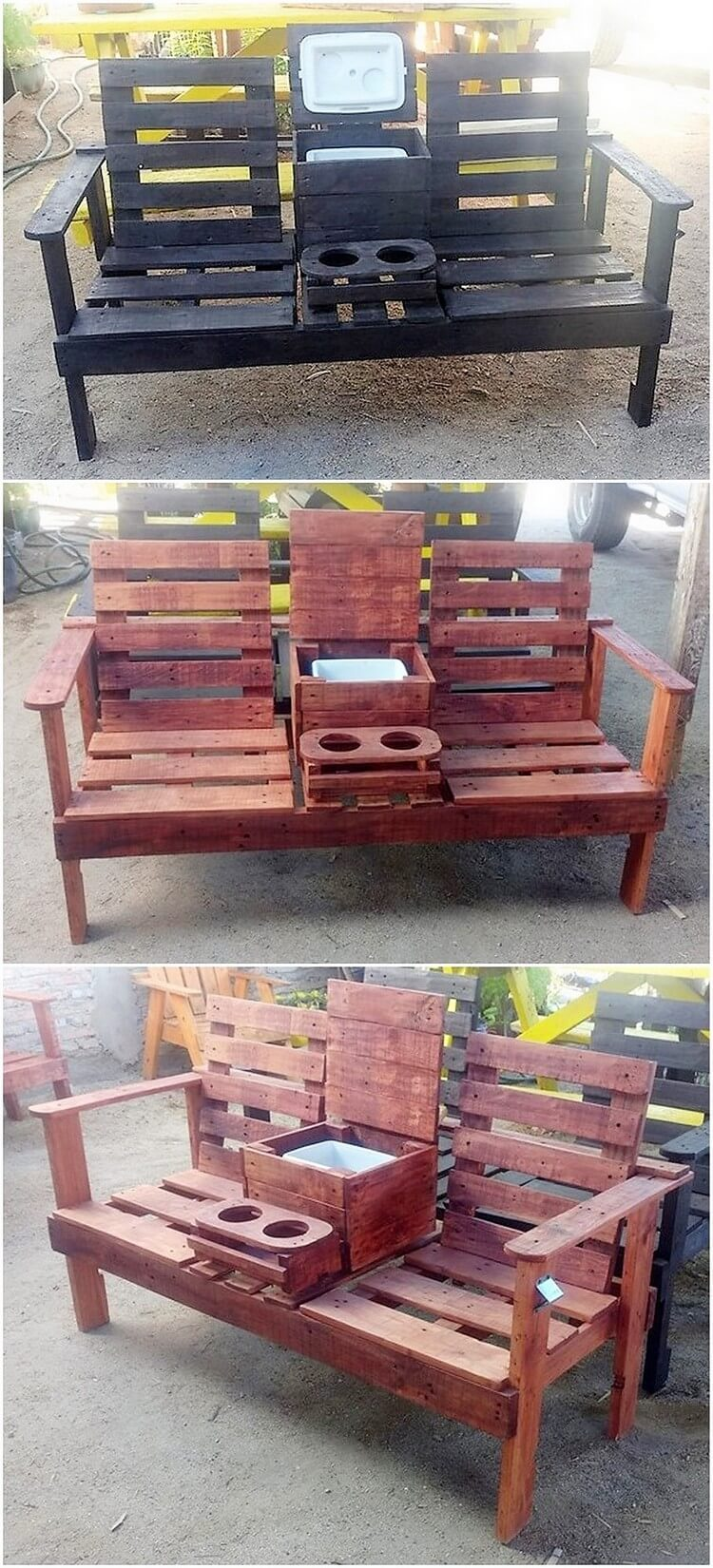 Pallet Bench or Attached Chairs
