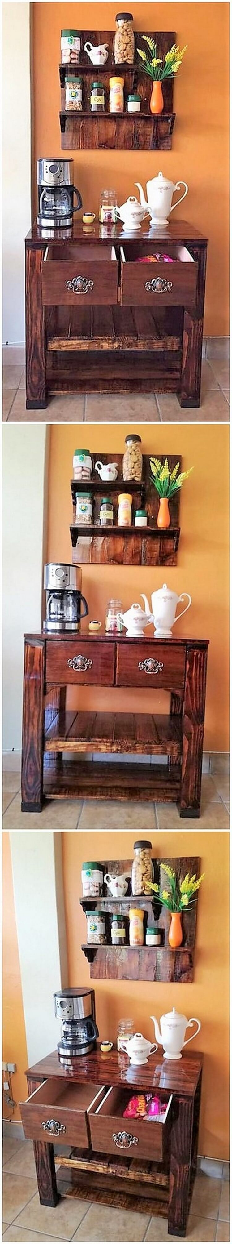 Pallet Kitchen Shelf and Table with Drawers