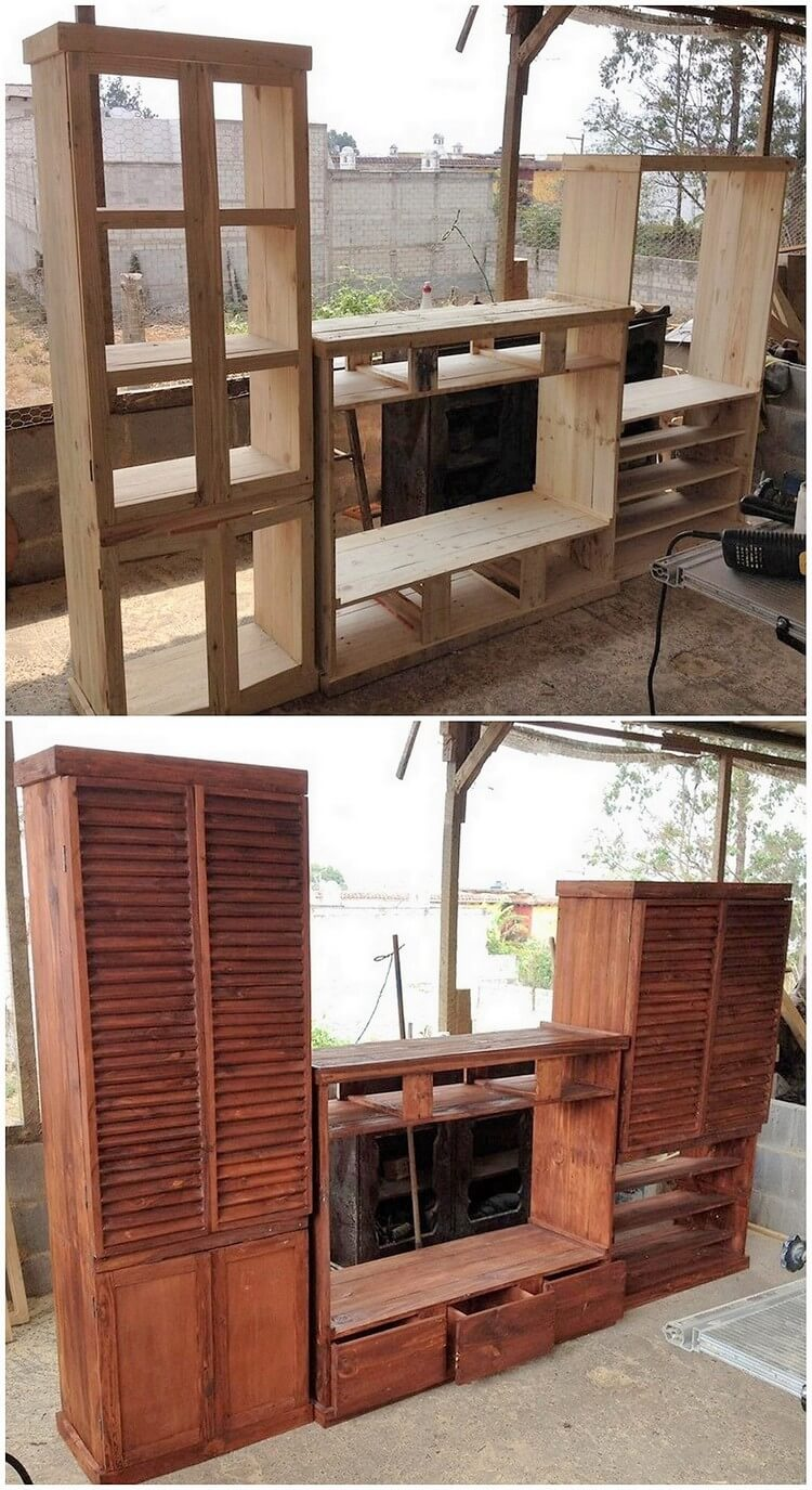 Pallet Media Unit with Cabinets