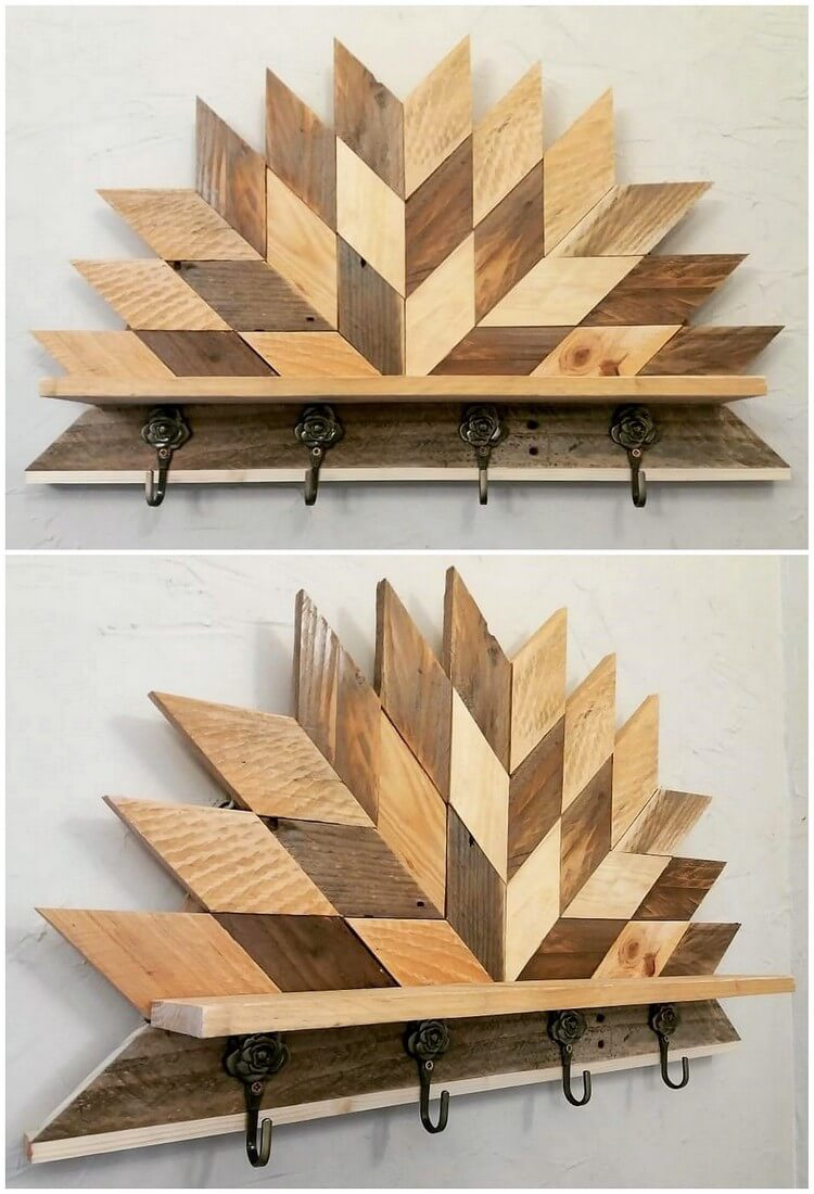 Pallet Wall Decor with Coat Rack
