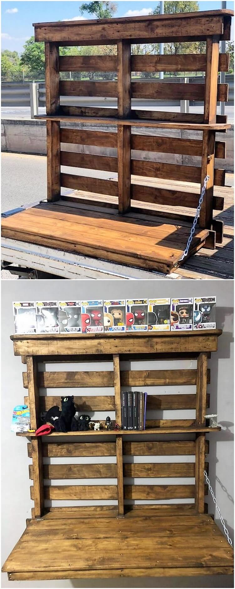 Pallet Wall Shelf with Desk