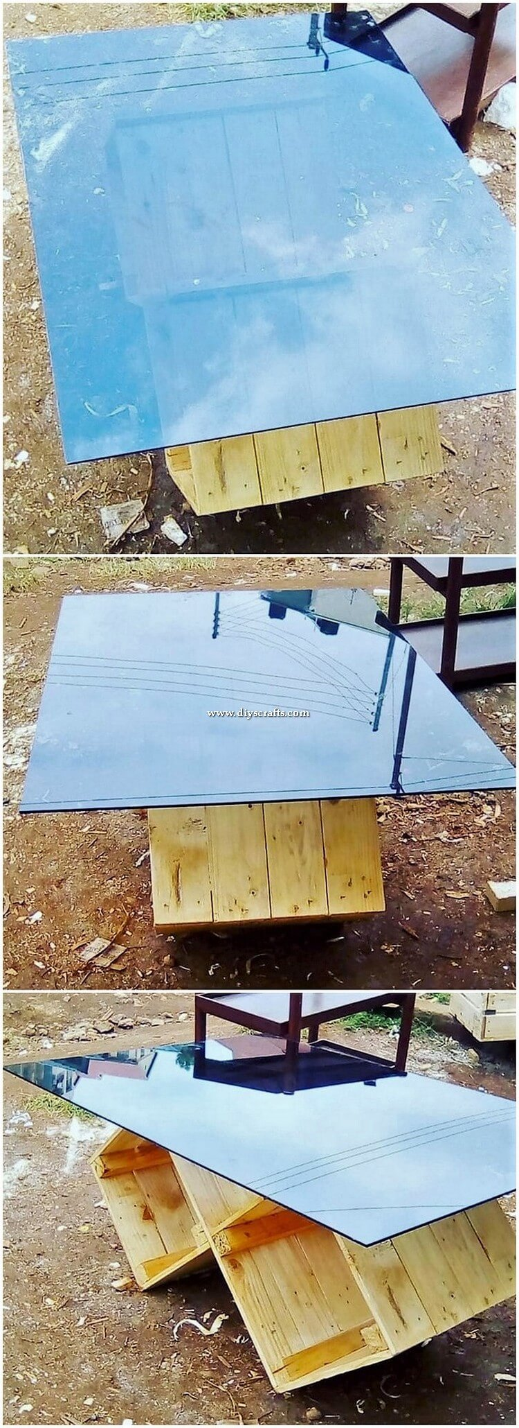 Glass Top Wood Pallet Table