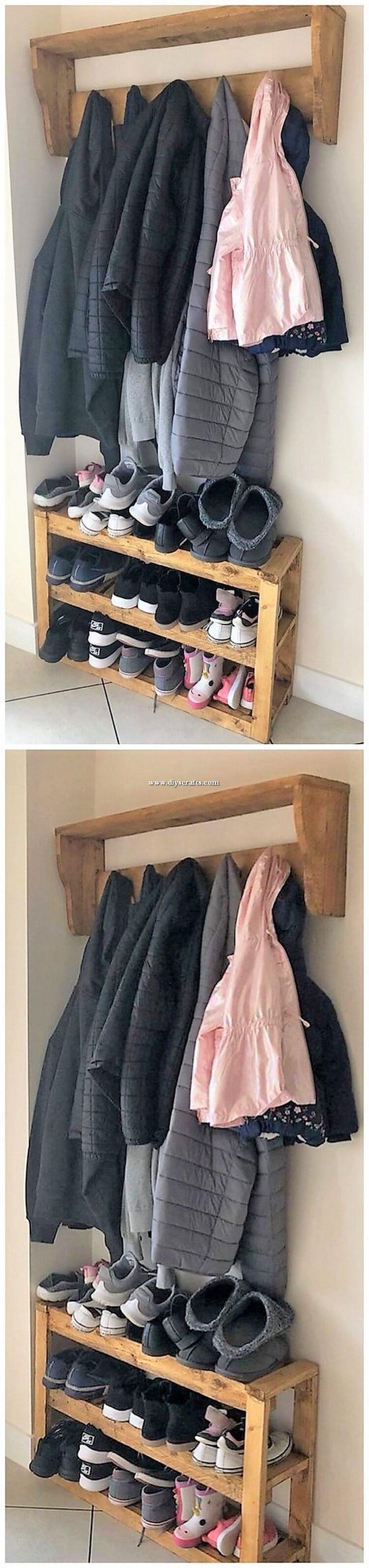 Pallet Coat Rack and Shoe Rack