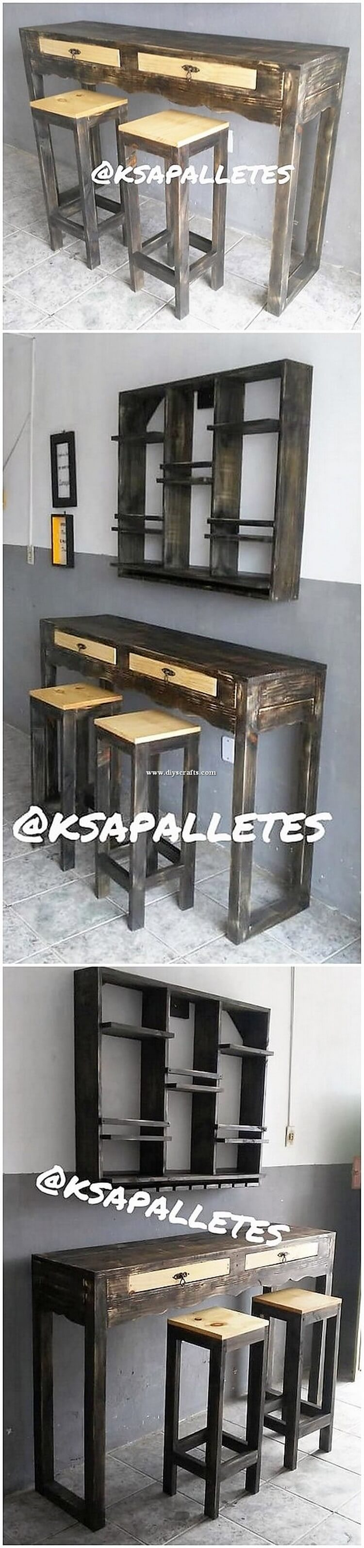 Pallet Table with Drawers and Stools
