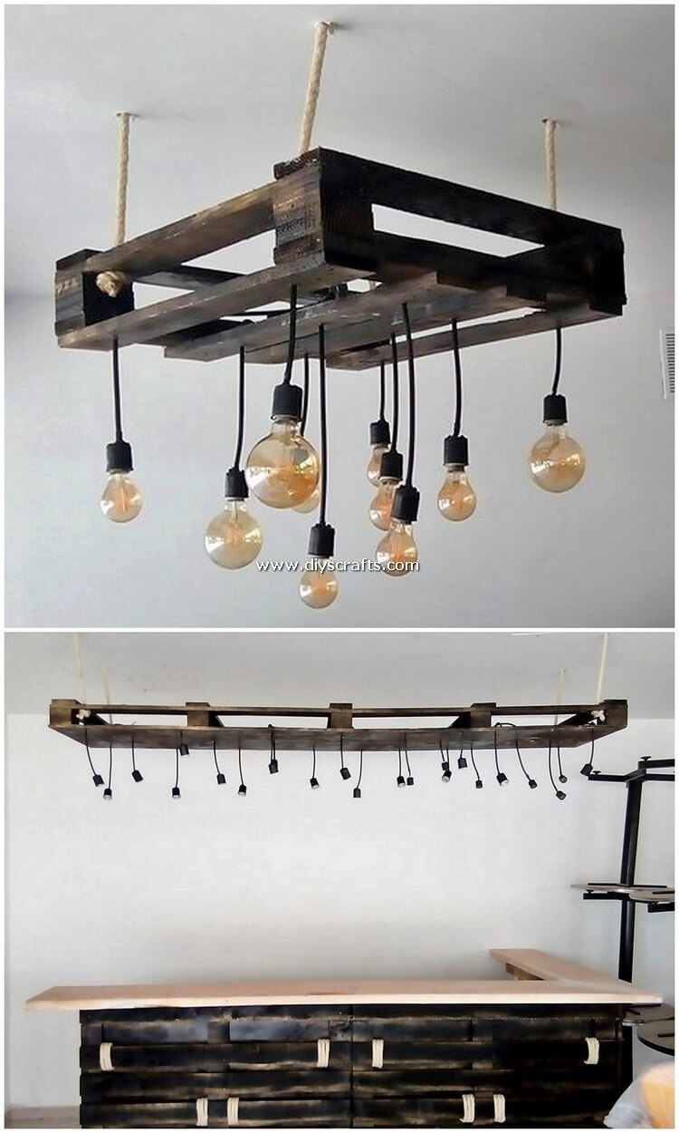 Pallet Chandelier and Counter Table