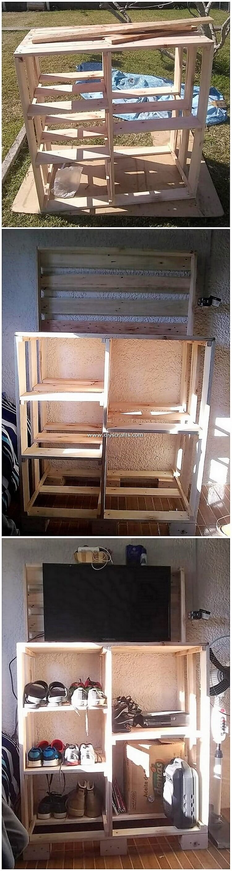 Pallet-TV-Stand-with-Shelving-Unit