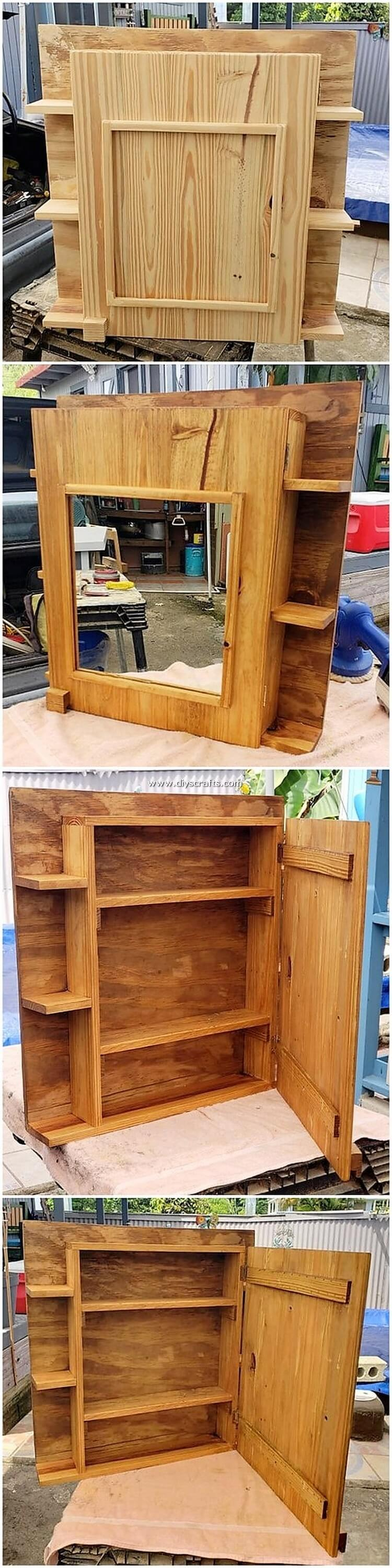 Pallet Mirror Frame with Cabinet