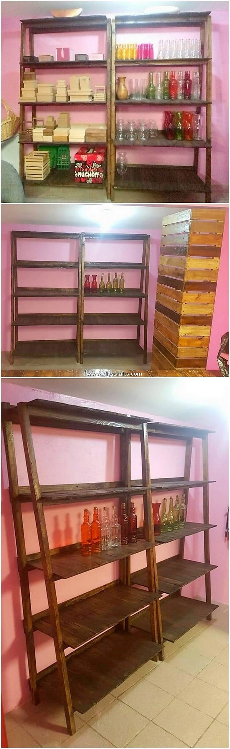 Wood Pallet Shelving Units